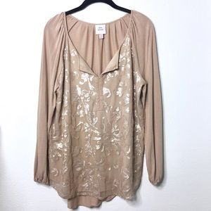 Knox Rose Sequin Filigree Casual Blouse